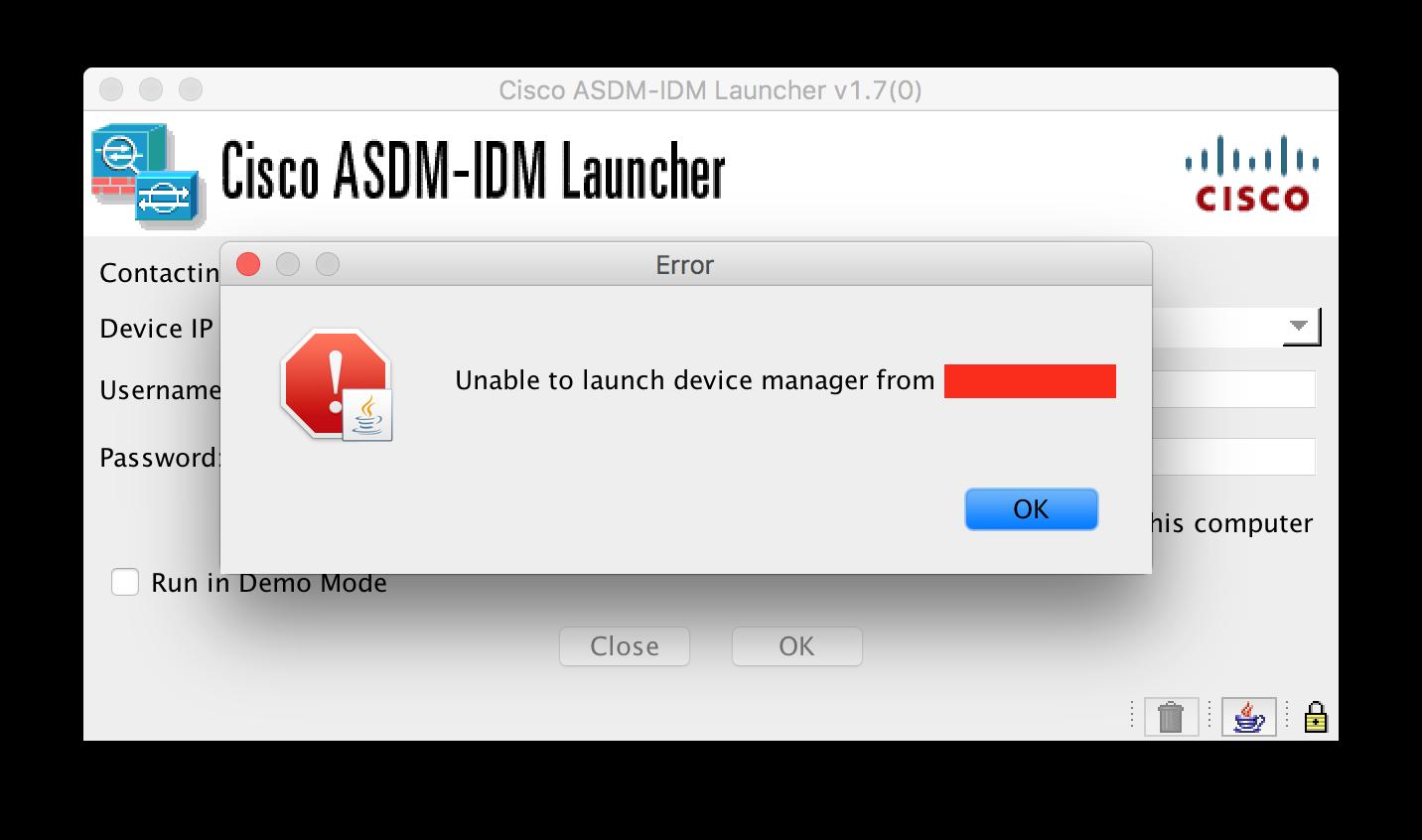 Cisco ASDM – Unable to launch device manager – sigurdfoshaug com